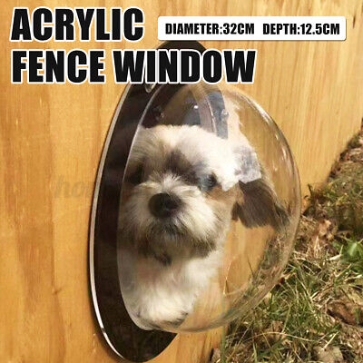 Pet Window Gog Fence Window Acrylic Pet Sight Window Dome Insert Fence Clear Outside Landscape Viewer for Cats Dogs Prevent From Jumping 31.5 x 12cm