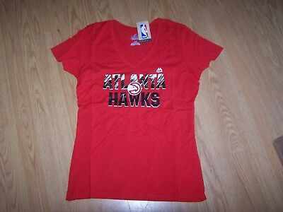 NBA Atlanta Hawks Womens Get Aggressive Short Sleeve V-Neck Tee Medium Athletic Red
