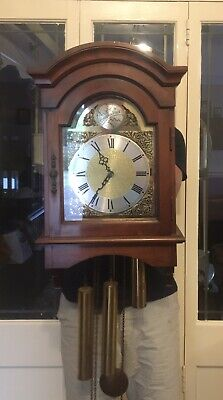 Vintage Emperor Weight Driven Grandfather Wall Clock - Large Piece