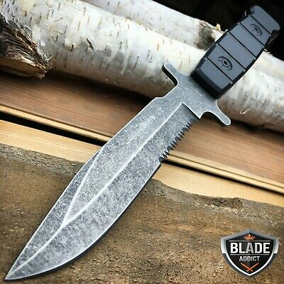 """9.5"""" Full Tang Stone Wash FIXED BLADE Survival Tactical Hunting CAMPING Knife -W"""