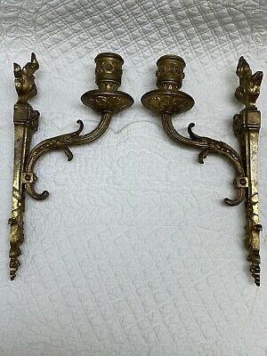 Beautiful Small Antique Pair French Gilt Bronze Or Brass Single Arm Wall Sconces