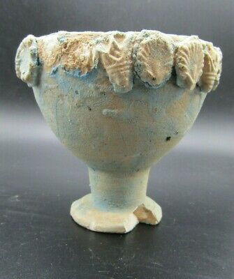 Ancient Egyptian faience pedestal dish, late period, 664-332 bc