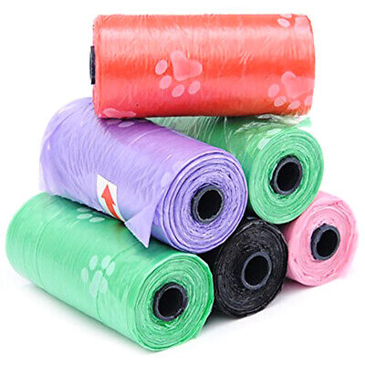1/4/6/8/10x Roll Strong Dog Poo Bags Eco Friendly Degradable Paw Printed Design