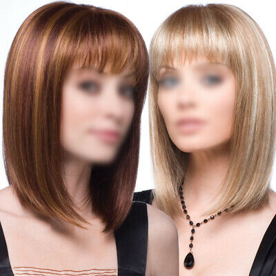 Womens Ladies Short Straight Hair Wigs BOB Style Full Wig With Face Front Wig