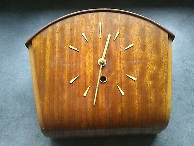unusual Vintage 30s' English wooden Mechanical Wall Clock  SMITHS 7x8x3.5""