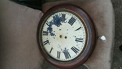 Antique English Fusee Wall clock, spares or repair, 12 inch dial