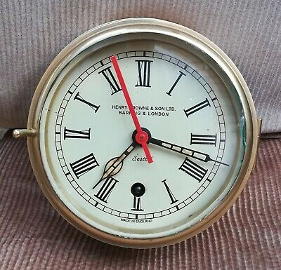 Brass cased SHIPS clock, sestrel , works well, 6 inch dial