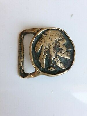 Vintage Indian Head Solid Brass Belt Buckle