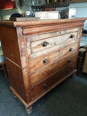 Antique Large Victorian Mahogany Tallboy Chest of Drawers with original handles