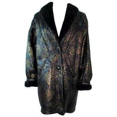ADRIENNE LANDAU Spanish Leather Metallic Coat Size 6