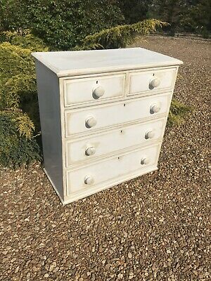 Painted Victorian Pine Chest Of Five Drawers