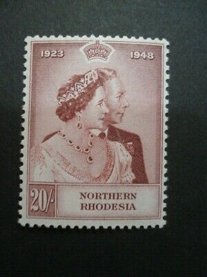 Northern Rhodesia Mint Never Hinged Silver Wedding 20/- Brown-Lake Sg 49