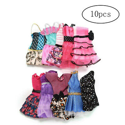 10Pcs/Set Fashion Barbie Doll Dresses Party Prom Gown Summer Beach Casual Dress*