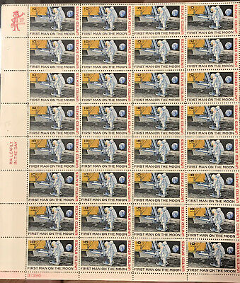 FIRST MAN ON THE MOON (1969) Vintage Airmail Stamps Full Sheet Of 32.