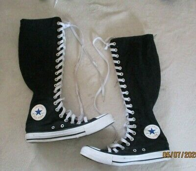 Details about 1V708 Converse Chuck Taylor All Star XXHi Knee Hi Black White 3.5 Men 5.5 Womens