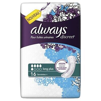 LOT DE 8 - ALWAYS : Discreet Long Plus - Serviettes fuites urinaires larges 16 s