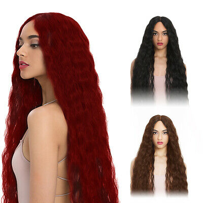 Ladies Ombre Blonde Long Hair Curly Wig Women Natural Body Red Wavy Cosplay Wigs
