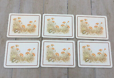 Vintage 1980s Marks & Spencer Field Flowers 6 x Cork-backed Place Mats