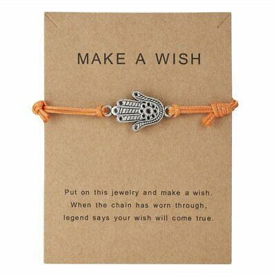 Wish String Charm Braided Adjustable Bracelet Best Friends Card Jewelry Gifts