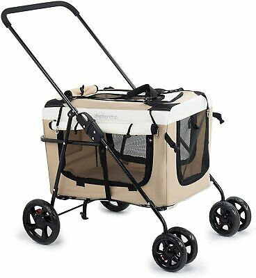 New 2 in 1 folding 4 wheel pet stroller pushchair travel carrier dog cat buggy