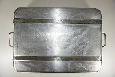 "Vtg Lockwood Mfg USA Commercial 24""x18""x4.75"" Roasting Baking Pan with Straps"