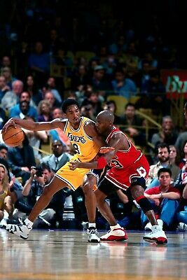 Michael Jordan guarding Kobe Bryant Poster (24x36) inches