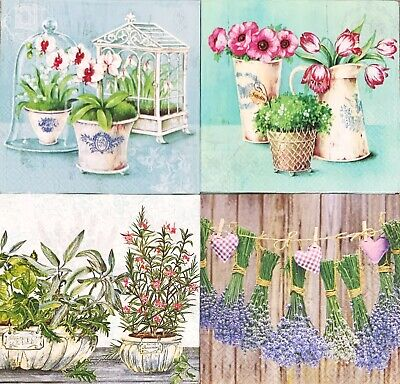4 x Single Different Napkins Flowers Lavender for Decoupage and Crafting 134