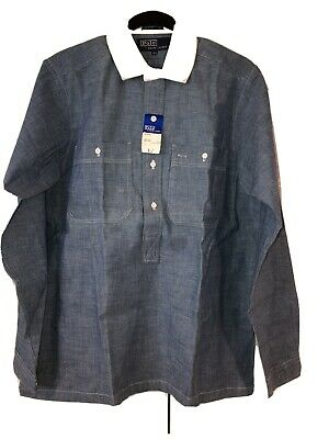 Vintage NOS Polo Ralph Lauren Chambray White Collar Cotton Button Up Side Slits