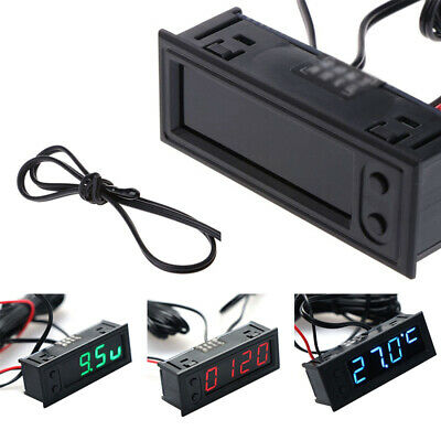 DC 12V Digital LCD Display Clock Panel Voltage Voltmeter Auto Car Battery Meter