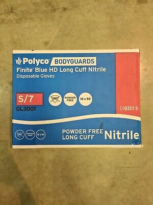 (Box of 450) Polyco Bodyguards GL3001 Small Blue HD Disposable Nitrile Gloves