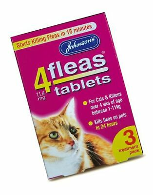 Johnsons Veterinary Products 4Fleas Tablets for Cats and Kittens, Pack of 3