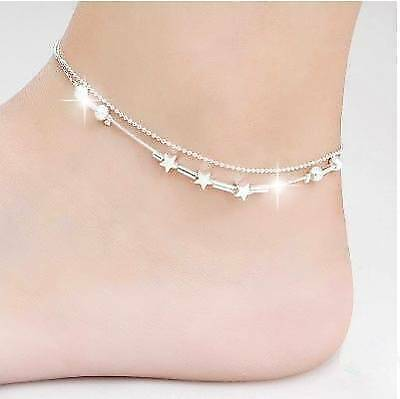Women Anklet 925 Sterling Silver Summer Star Charm Braclet Ankle Chain Gif Sory