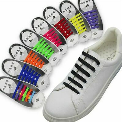 Easy No Tie Rubber Shoe Laces Colored Trainers Snickers Kids + Adults 16 pcs