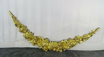 "11.8"" -Antique French Gilded Bronze Furniture Pediment Mount Hardware- Flowers"