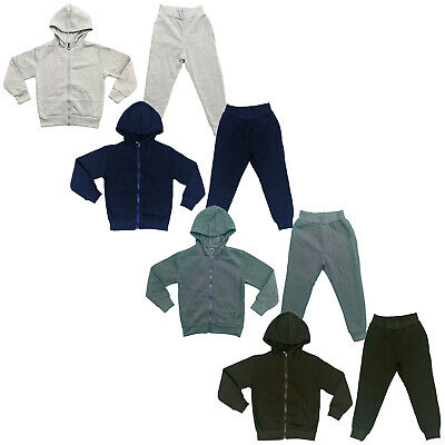 Boys Girls Kids Plain Tracksuit Hoodie Joggers Fleece Jogging Bottoms School PE
