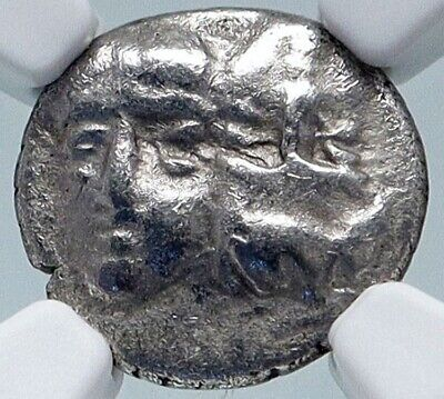 ISTROS Thrace Authentic Ancient 400BC Silver Greek Coin GEMINI TWINS NGC i85726