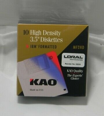 "KAO Diskettes MF 2HD 3.5"" 10 Pack High Density IBM Formatted Floppy Discs NEW"