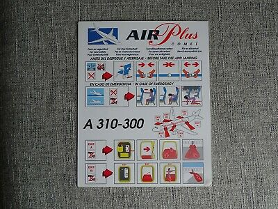 AIR PLUS COMET AIRBUS A310-300 SAFETY CARD