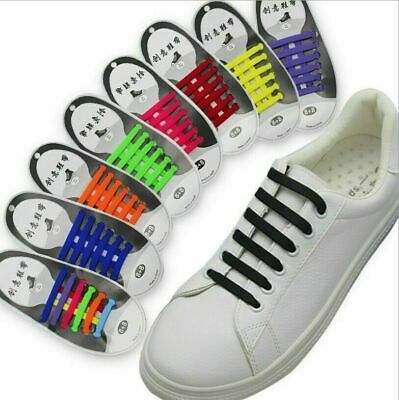 Easy No Tie Rubber Shoe Laces Colored Trainers Snickers Kids + Adults Shoelaces