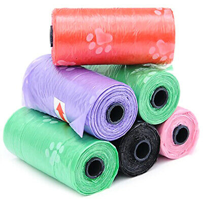 15PCS/Roll Large Strong Dog Poo Bags Roll Poop Waste Eco Degradable Paw Print