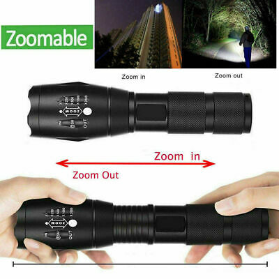 9000000LM T6 LED Ultra Brightest Flashlight Zoomable Rechargeable Torch Lamp UK