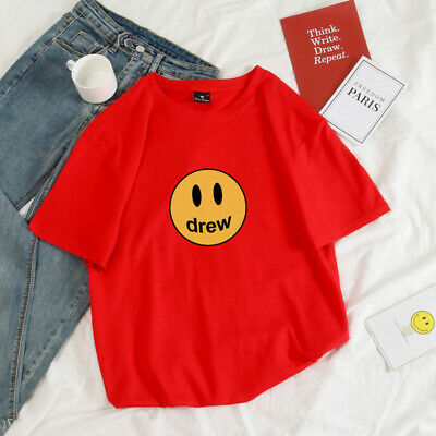 Ins Hot Justin Bieber Drew House Sketch Mascot Embroidery Tee Smile Face T shirt