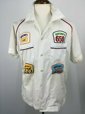 Vintage 50s 60s 70s Marzaos Chicago Illinois Mens Bowling Shirt Rockabilly USA L