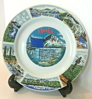 Vintage Alaska Colorful Display State Plate Collectible Alaska Souvenir.