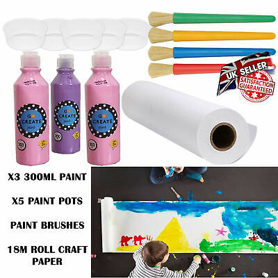18m White Drawing Paper Roll Kids Set Childrens + Paint + Chunky Brushes + Pots