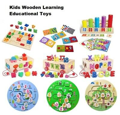 Wooden Puzzle Baby Kids Toddler Maze Shape Alphabet Letters Animal Learning Toys