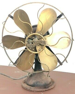 """Antique 12"""" Westinghouse 6-Brass Bladed Oscillating Electric Fan - Works Well!"""