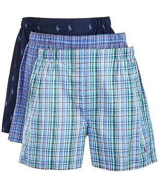 POLO RALPH LAUREN Men's 3-Pack Classic Woven Boxers Shorts Multi Size L NEW $75