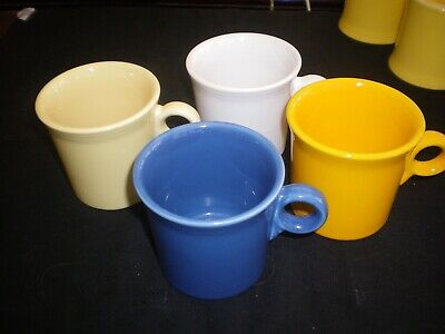 Fiestaware Hlc. Set Of 4 Coffee Mugs; Ring-Handled, 8 Oz. Mixed. Pre-Owned.