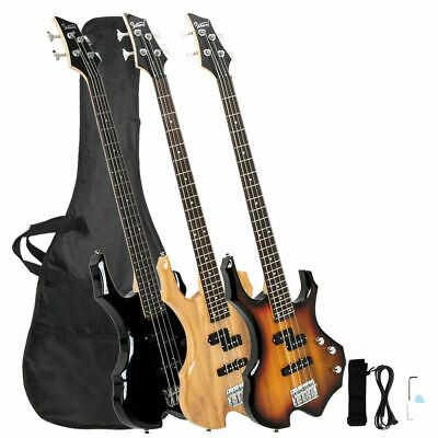 Glarry Basswood Burning Fire Electric Bass Guitar Full Size 4 Strings W/Bag